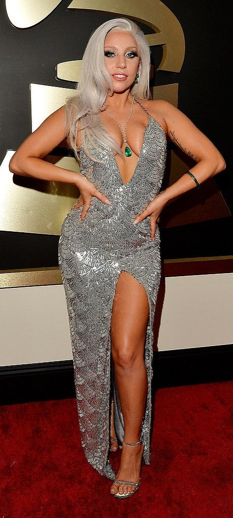 Lady Gaga took the plunge in a sparkling Brandon Maxwell gown at the Grammys.