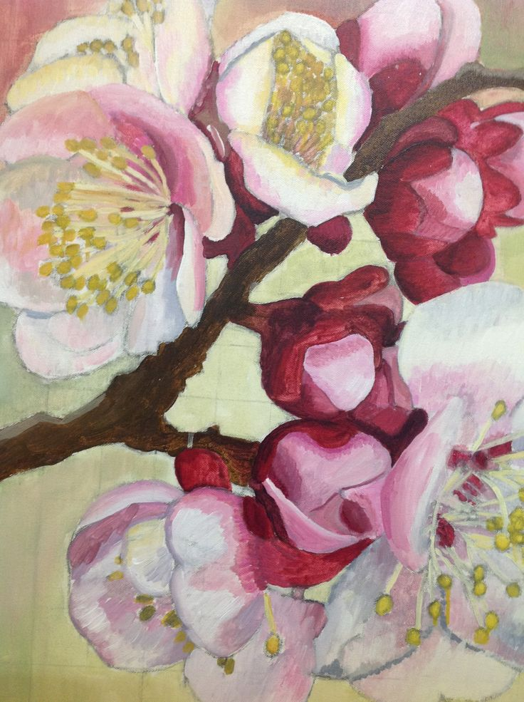 This painting is on my easel, work in progress (Elisabeth Howlett, Artist). It is an under-painting of Japanese blossoms on a 30x 30 inch canvas. It's ready for oil paint.