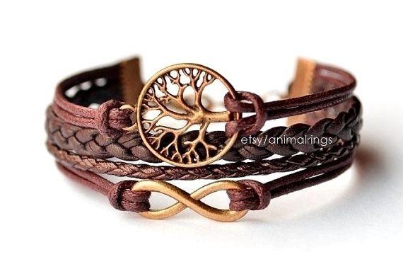 Infinity Armband, Lebensbaum Armband, Infinity Armband mit Lebensbaum, Leder, Braun, Bronze