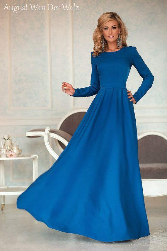 Синее платье макси, Платье с длинным рукавом, Качественное дизайнерское платье, Офисный стиль, элегантное платье.