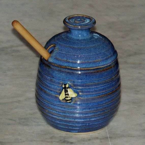 Blue Pottery Honey Pot With Bee And Dipper By JaneWojick 3500