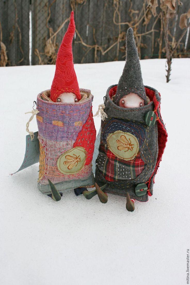 Купить Гномы в одеялах - комбинированный, цветной, гном, носатый, авторская кукла, одеяла, заплатки, боро