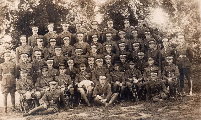 Royal Garrison Artillery officer trainees early 1915