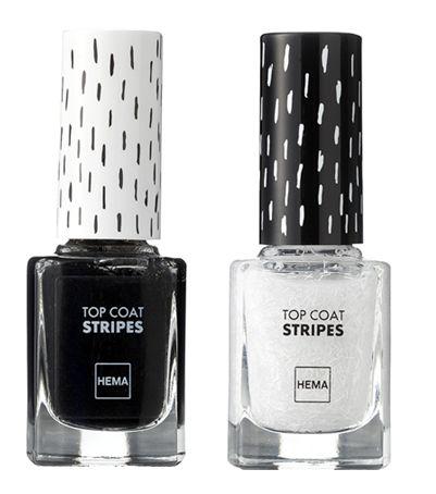 HEMA topcoat stripes: topcoat met witte of zwarte streepjes, om aan te brengen over je nagellak PD