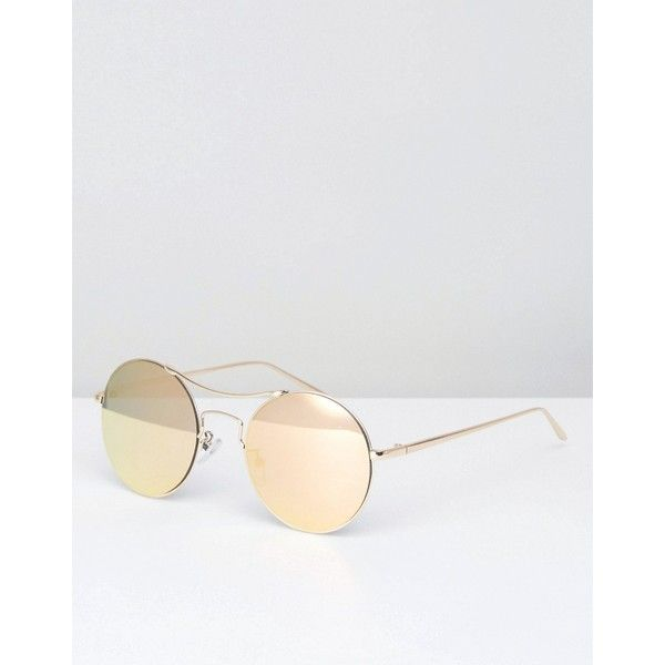 Pieces Gold Mirror Sunglasses (€19) ❤ liked on Polyvore featuring accessories, eyewear, sunglasses, gold, adjustable glasses, round frame sunglasses, mirrored sunglasses, gold sunglasses and gold mirror sunglasses