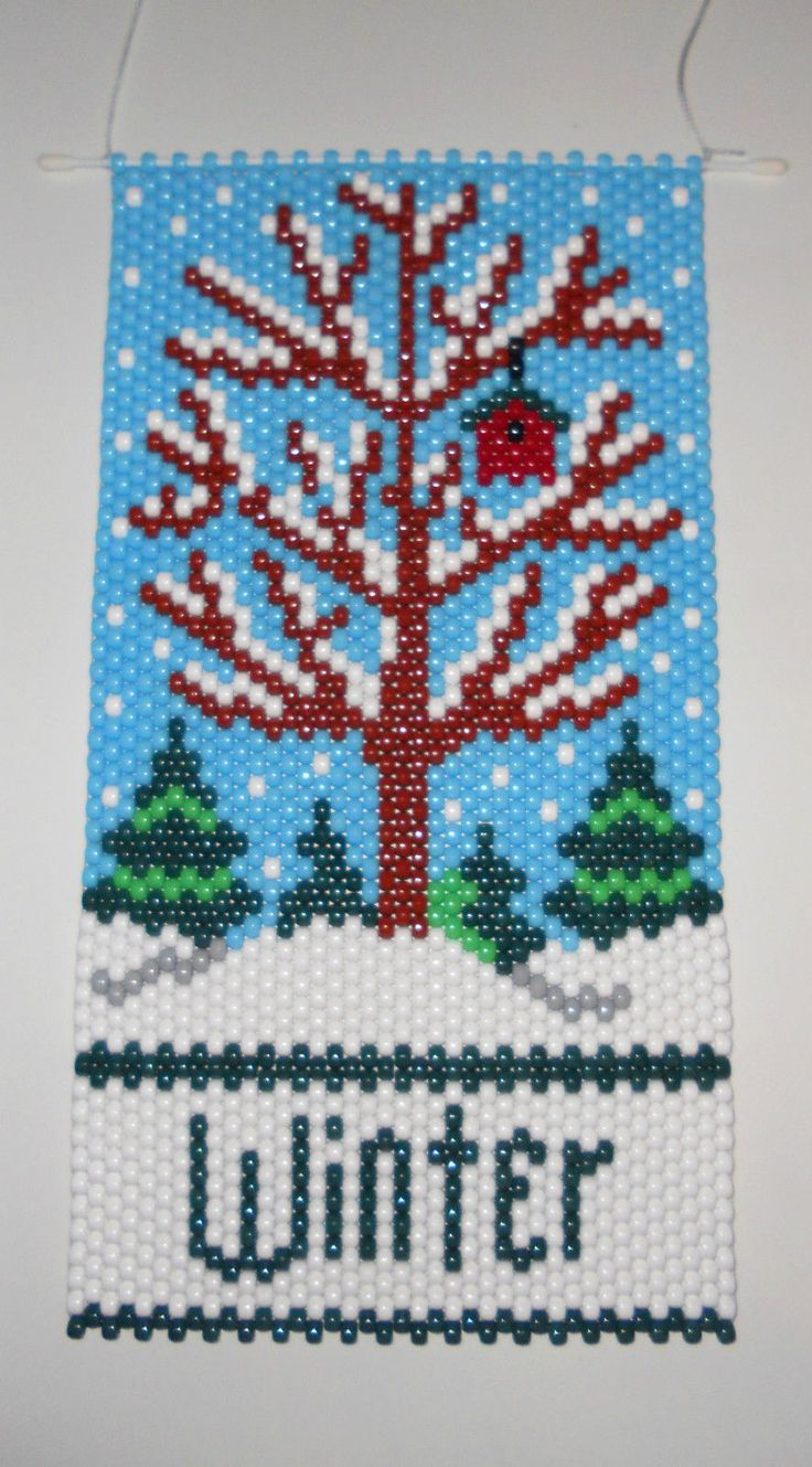 Handmade Winter Tree Beaded Banner with Nylon Cord Hanger | eBay