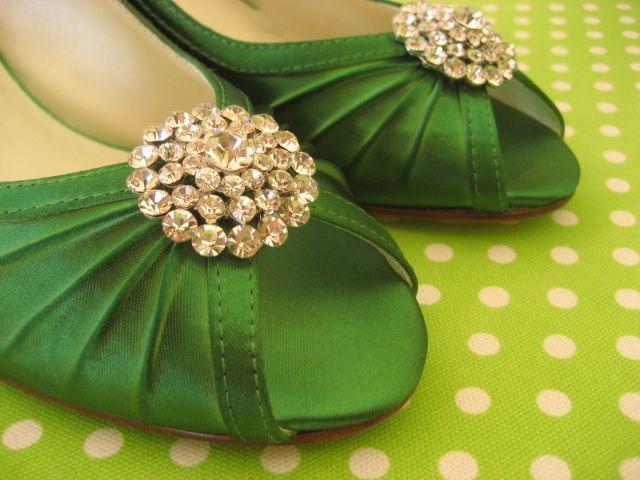 green satin with rhinestone clip