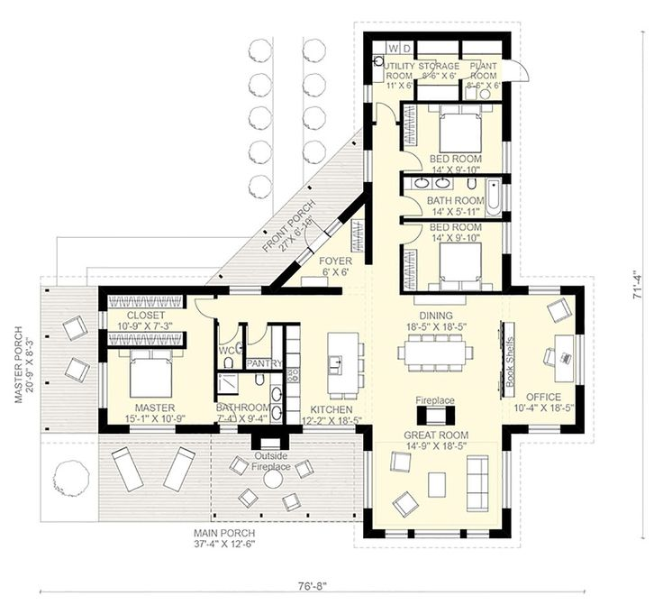 Floor plan for a home using three shipping containers in a