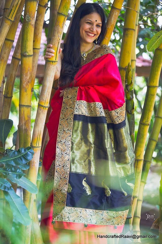 Raw silk sari highlighted with paithani palla