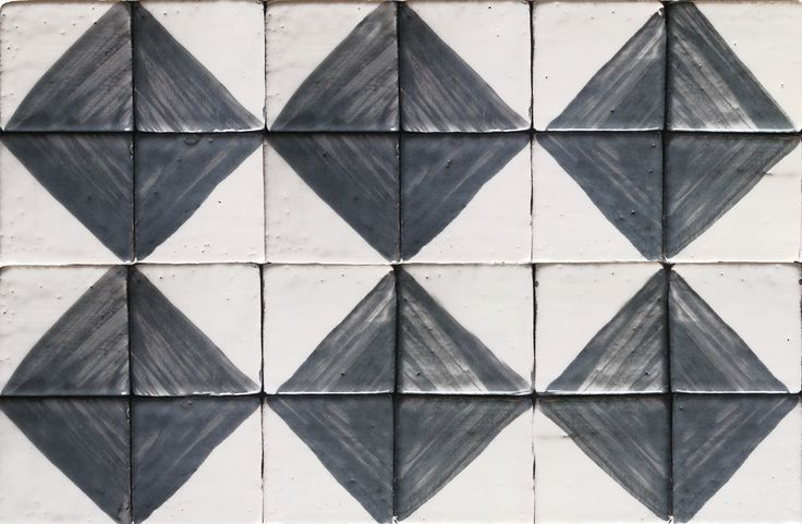 Handmade ceramic tile mosaic, squares in a pattern of coal black and white