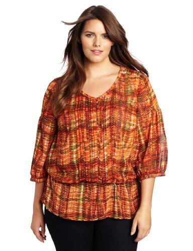Jones New York Women's Plus-Size Three Quarter Sleeve Double Button Peasant Blouse, Flame Multi, 1X Jones New York. $75.60. Peasant. Machine Wash. Three quarter sleeve. 100% Polyester. Made in Indonesia. Save 10%!