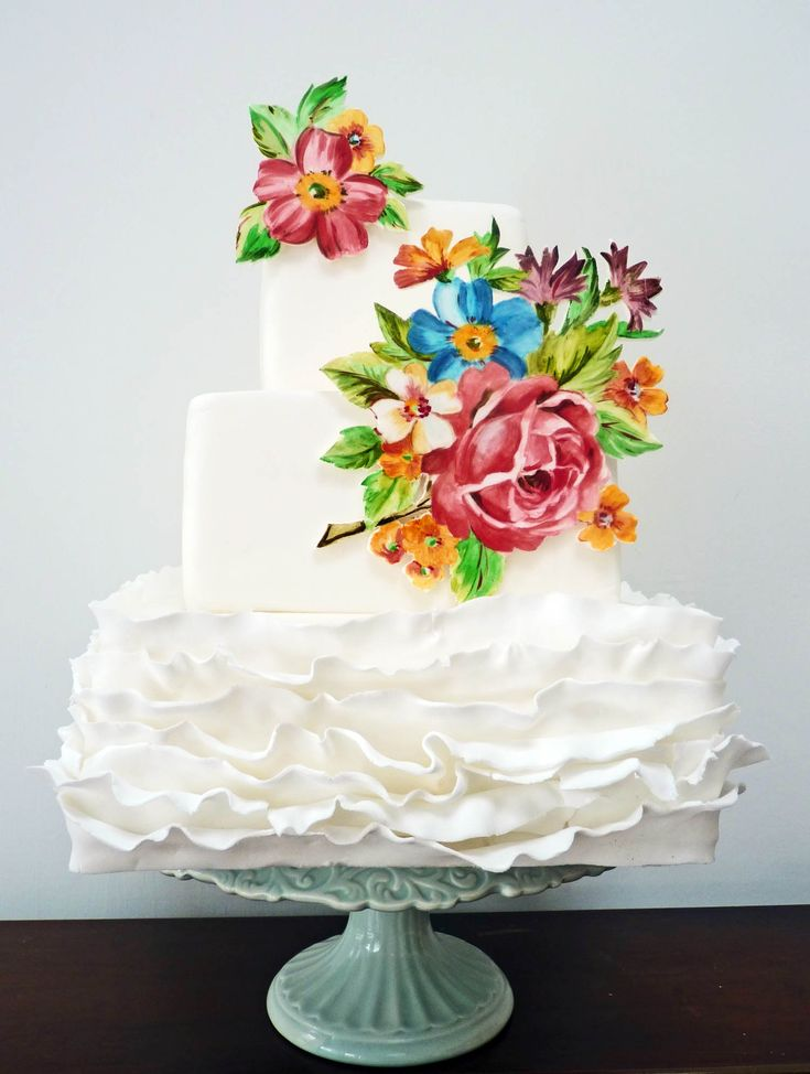 Image for Square Wedding Cake Pictures Modern Ruffles Pinterest