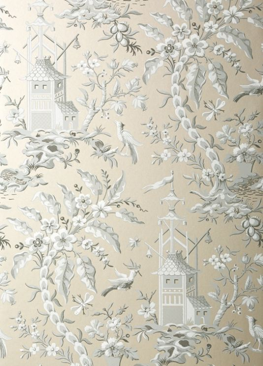 Pagoda Garden Wallpaper A striking wallpaper inspired by an antique French document from the 19th century, depicting a fantasy Oriental scene with gracefully arching trees, birds, and pagodas, shown in matte grey on a metallic ground.
