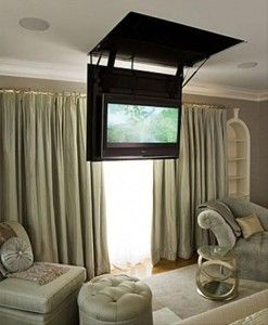 """Flat-Screen TV Fold Down Ceiling Unit"" from INCA Television Lifts, 313-808-0001, inca-tvlifts.com, post by dumpaday"