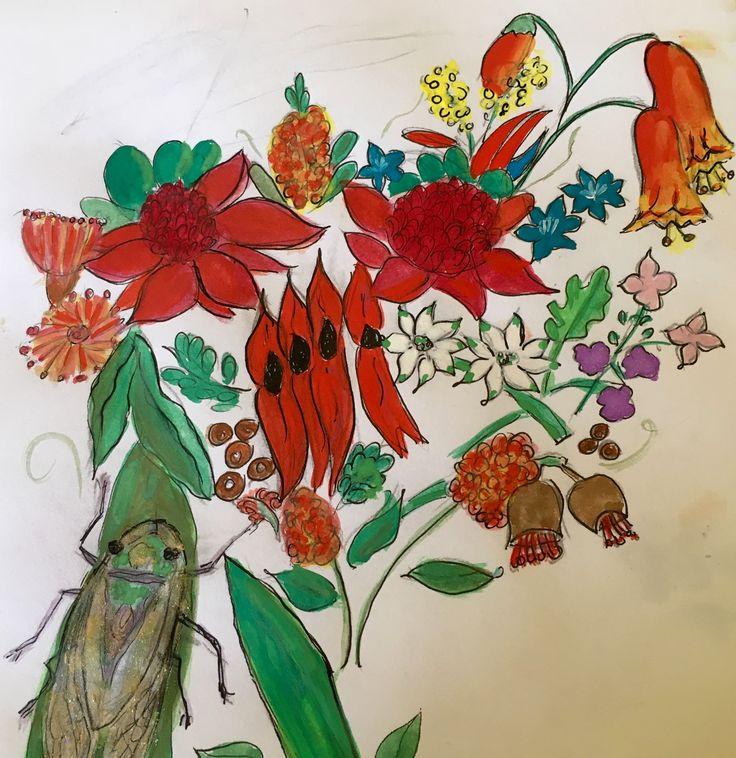 Australian Wildflowers and Cicada in Goauche
