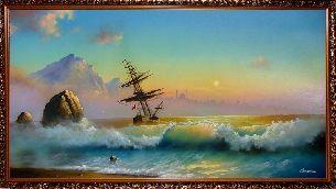 Корабль на закате - Морской пейзаж <- Картины маслом <- Картины - Каталог   Универсальный интернет-магазин подарков и сувениров