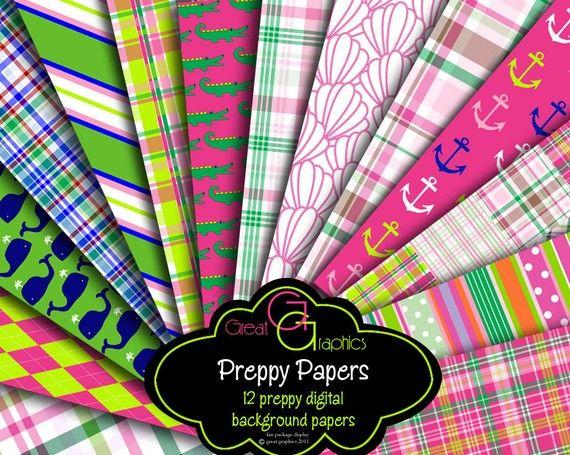 Preppy Paper Digital Paper Preppy Whale Madras Plaid Preppy Alligator Printable Paper Pink and Green Digital Download - Instant Download on Etsy, $6.00