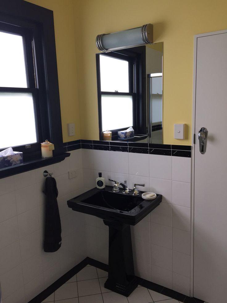Deco second bathroom - Canterbury ceramic and Nicolazzi tapware, onlinelighting.com, handmade tiles Rossetto Hobart