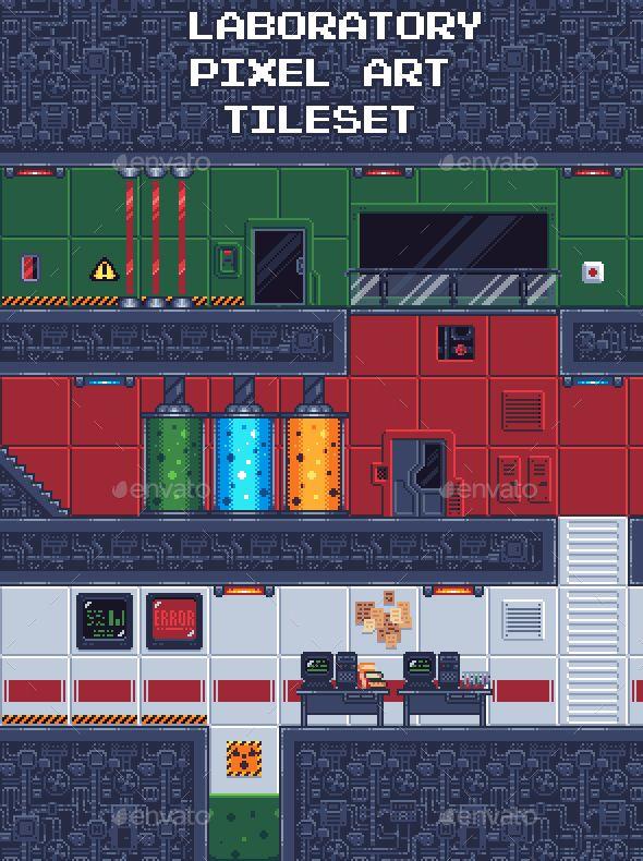 Laboratory Pixel Art Tileset Pixel Art Pixel Art Design Pixel