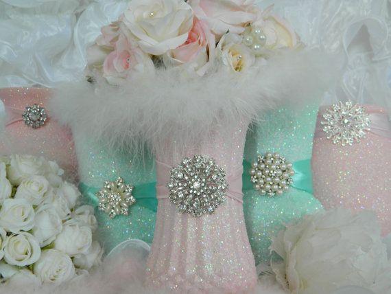 Wedding Centerpiece Wedding Decorations Pink Shabby By KPGDesigns