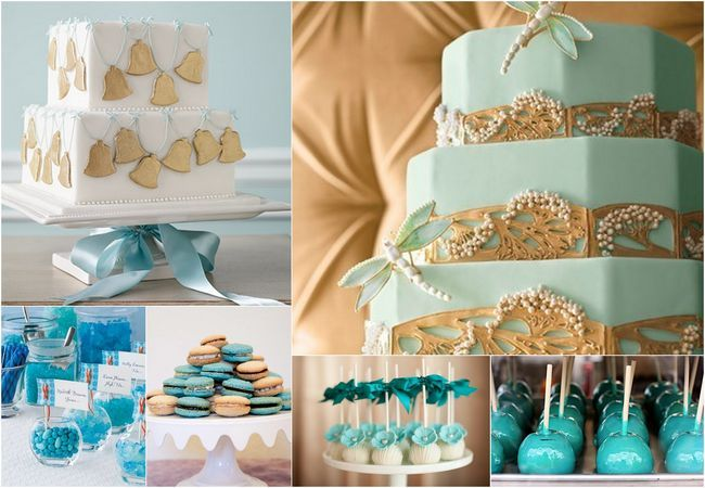 Teal Turquoise Amp Gold Wedding Cakes Amp Treats