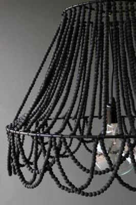 DIY black beaded chandelier with lamp frame. Can also use hanging plant basket from the dollar store, as a frame & add a hanging pendant light inside. It doesn't have to be black, just the idea is super cute, to make your own chandelier. :)