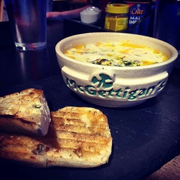 "Thanks to #WiseMona for sharing this shot with us via Twitter: ""Had a fab bowl of #Chowder @McGettigansGWY today - fab customer service too - excellent training of employees #Galway ."""