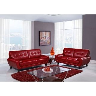 TOV Furniture James Red Linen Sofa And Arm Chair Living Room Set UsaFurniture OutletOnline