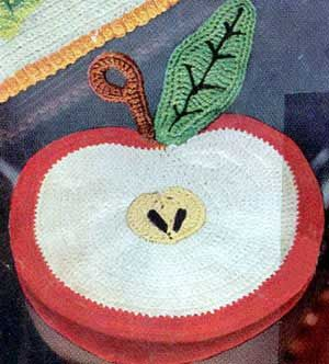 Free vintage crochet patterns including this Apple hot pad. Tons of potholders, hot pads ....Love the multicolored potholder!