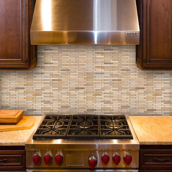 neutral stone mosaic easy peel and stick by shanickerswalldecals - Abnehmbare Backsplash Lowes
