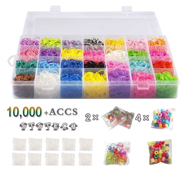 STSTECH 10,000 Rubber Bands Refill Pack Colorful Loom Kit Organizer for Kids Bracelet Weaving DIY Crafting with Crystal-like Charms,500 S-Clips,Mini Hook and 175 Beads