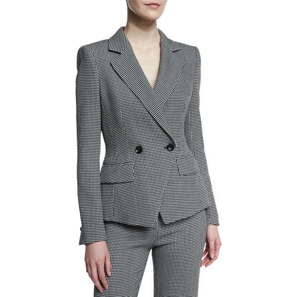 Escada Double-Breasted Dotted Seersucker Jacket ($1,250) ❤ liked on Polyvore featuring outerwear, jackets, black, seersucker jacket, polka dot jacket, escada, long sleeve jacket and escada jacket