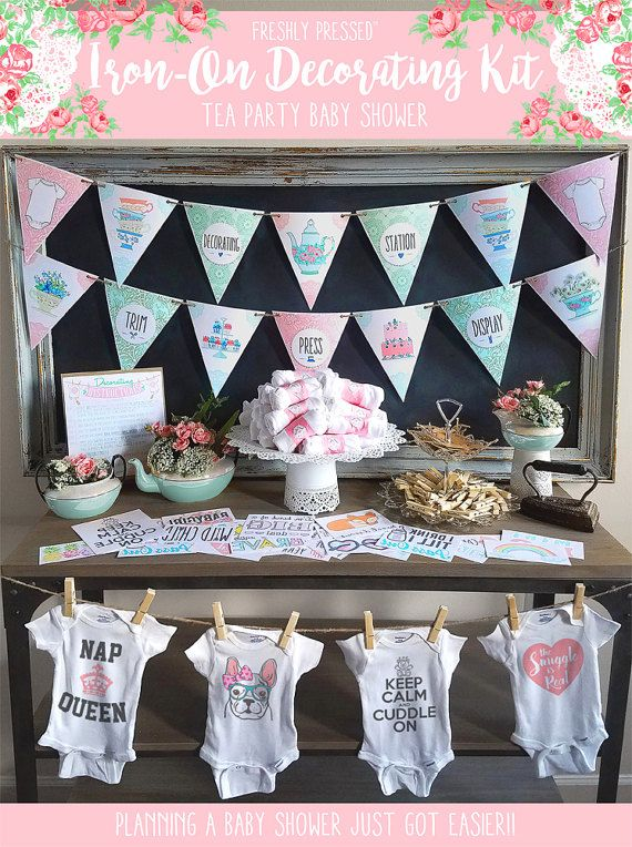 Baby Shower Kit/ Tea Party/ Shabby Chic/ Onesie Decorating Kit/ Station/  Shower Games/ 12 Or 18 Transfers, Onesies/ Banners U0026 More!/ DIY FUN