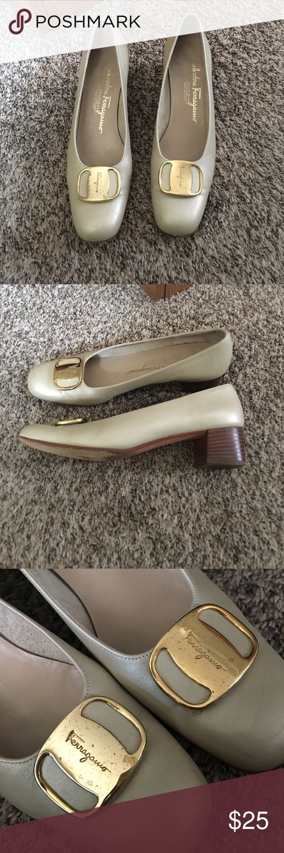 Ferragamo Heels Gorgeous Authentic Ferragamo Heels! Marking on the bottom that says 60$ other than that and normal wear they are in great condition. A bit narrow. Buckles on top could be shined for cheap to look better. Ferragamo Shoes Heels