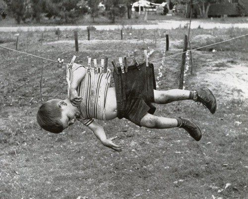 My Grandma used to threaten to hang us on the clothes line by the seat of our pants if we didn't behave. She had a couple of REALLY big clothes pins too! Nuf said.....
