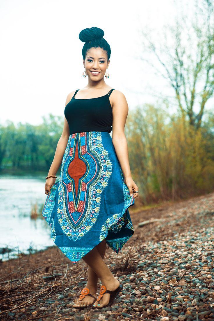 Dashiki African Print V Skirt - Blue Style