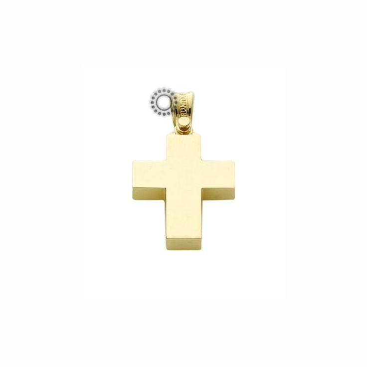 Ένας κλασικός βαρύς σταυρός βάπτισης για αγόρι ΤΡΙΑΝΤΟΣ από χρυσό Κ18 μασίφ σε γυαλιστερό φινίρισμα   Βαπτιστικοί σταυροί ΤΣΑΛΔΑΡΗΣ στο Χαλάνδρι #βαπτιστικός #σταυρός #βάπτισης #Τριάντος #αγόρι