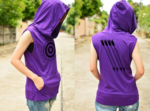 Hawkeye Archery t-shirt hoodie with arrow on the back side sleeveless