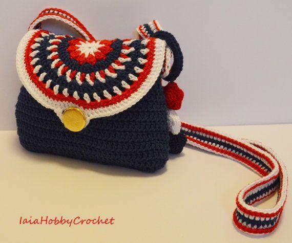 Borsa, sacchetto, poco ragazza Crochet, uncinetto borsa, blu rosso bianco tono…
