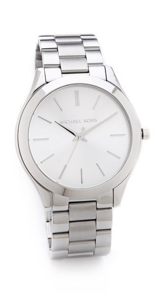 silver slim runway watch / michael kors - super simple like the design but not the brand so much