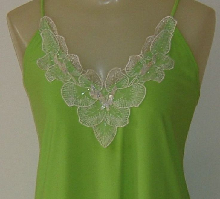 MDS California Womens Camisole Tank Top Neon Green Irridescent Sequins Size 1X #MDSCalifornia #TankCami #EveningOccasion