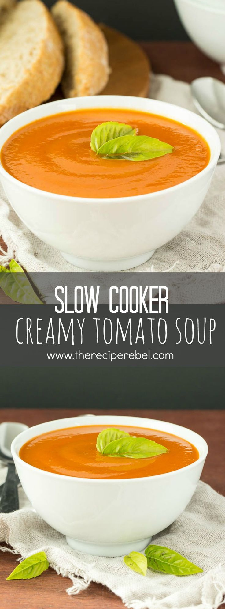 Slow Cooker Creamy Tomato Soup: Tomatoes and vegetables simmer away all day until tender, then they're pureed to make this ultra creamy, vibrant tomato soup that is secretly loaded with veggies! Your kids will never know! www.thereciperebel.com