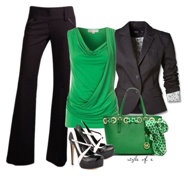"""""""Green, Black, & White"""" by styleofe ❤ liked on Polyvore featuring Mexx, MICHAEL Michael Kors and Truth or Dare"""