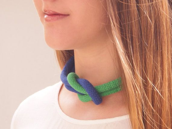 Green and Blue love knot nautical rope statement necklace on Etsy, $40.00 AUD