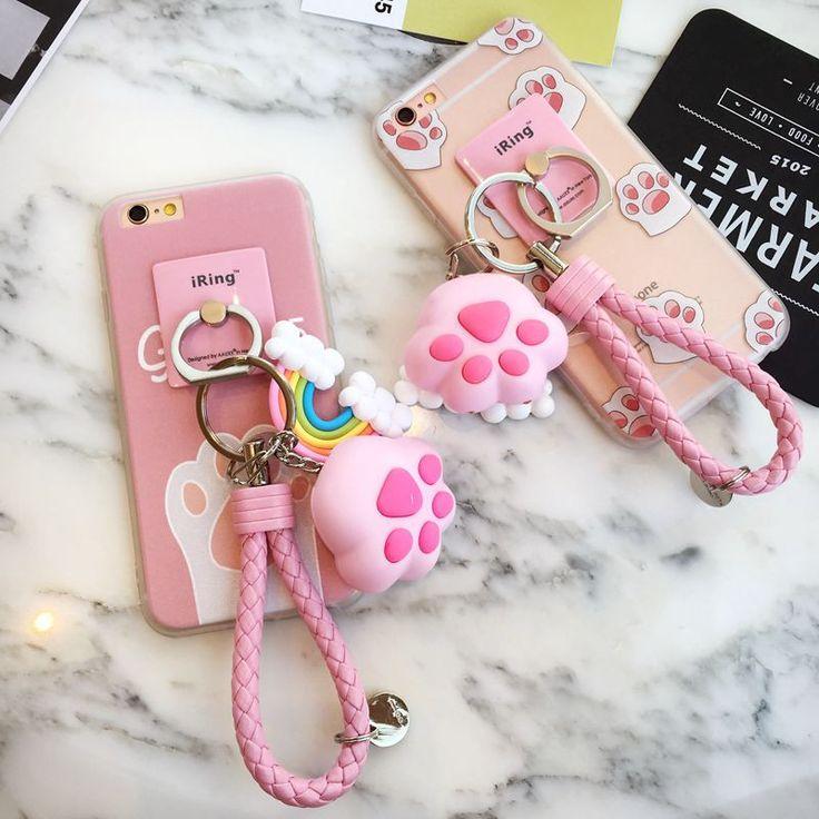 Cute kawaii cat claw pink iphone6/6splus cartoon phone case
