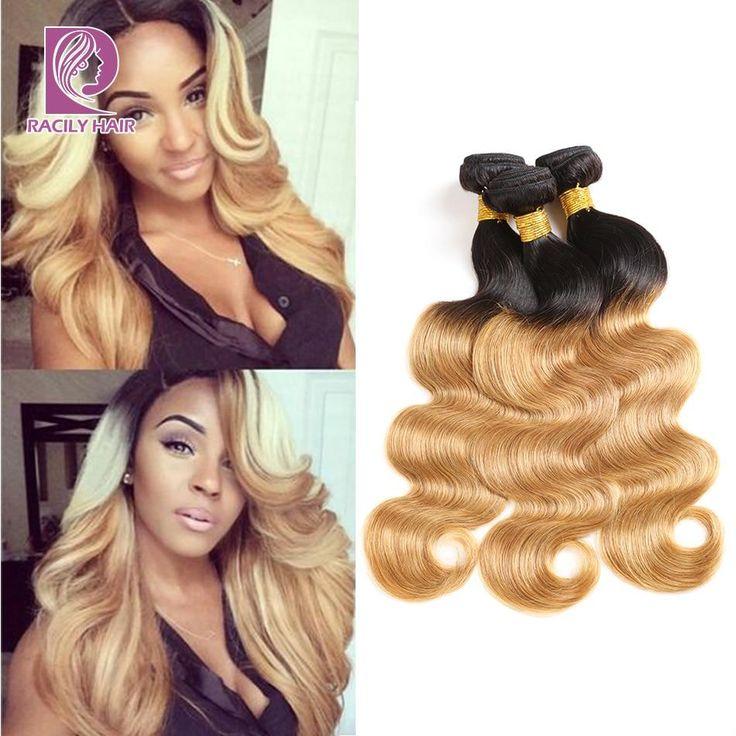 Brazilian, Body Wave, 1/3/4 Bundles, T1B/27, Ombre, Honey Blonde, 100% Human Hair, Remy