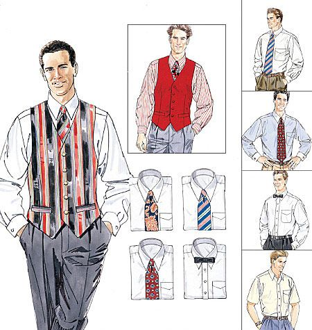 Men's Lined Vest, Shirt, Tie In Two Lengths and Bow Tie