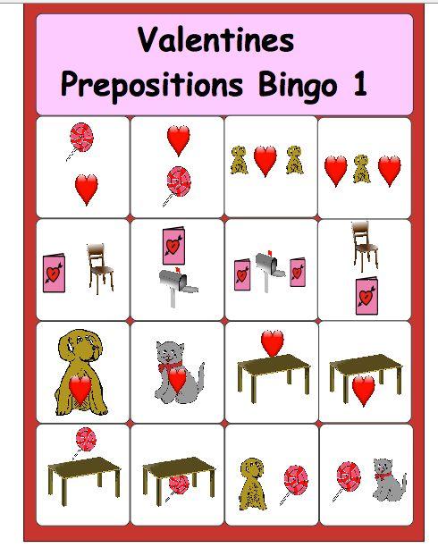 Chapel Hill Snippets: Valentine Prepositions Bingo