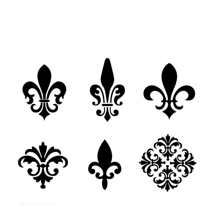 Fleur De Lis Elements, No. 17001 Clip Art Kit, 300 dpi .jpg and .png, Instant…