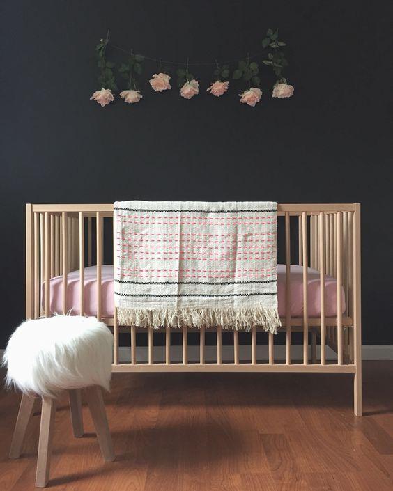 Black Nursery With Ikea Sniglar Crib